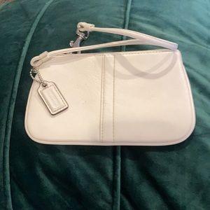 Coach white leather wristlet small